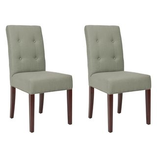 Metro Tufted Grey Linen Side Chairs (Set of 2)