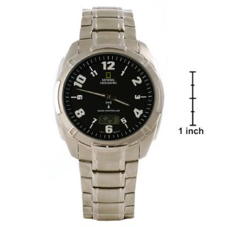 National Geographic Mens Black Dial Steel Watch