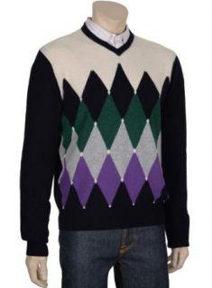 Malo Mens Pure Cashmere Argyle V Neck Sweater Size Medium