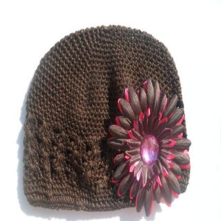 Bow Clippeez 2 Envy Brown and Hot Pink Flower Clip and Brown Hat