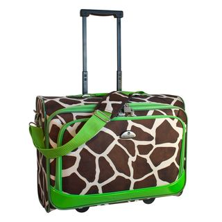 American Flyer Giraffe Green 17 inch Rolling Carry on Tote