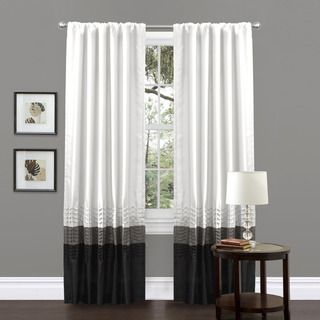 Mia White Pieced 84 inch Curtain Panel Pair