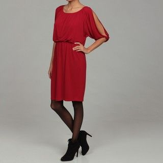 London Times Womens Red Matte Jersey Dress