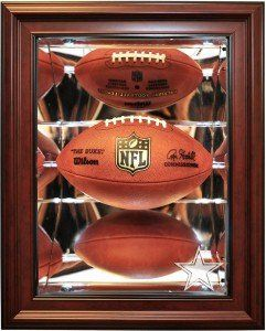 Dallas Cowboys Football Shadow Box Display,Mahogany