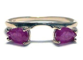 Large Pear Ruby Ring Wrap Guard Enhancer 10k yellow gold