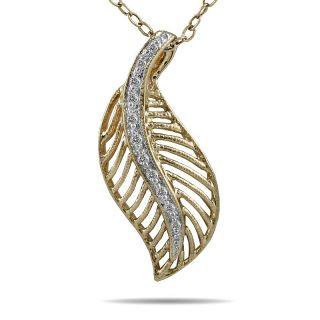 10k Yellow Gold Diamond Accent Leaf Pendant (I J, I1 I2)