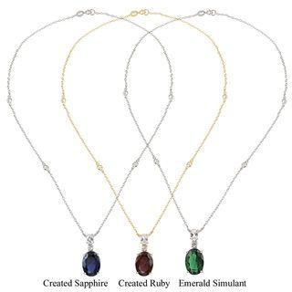 Glitzy Rocks Sterling Silver Lab created Gemstone Necklace