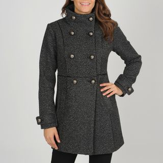Vince Camuto Womens Double breasted Herringbone Coat