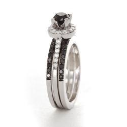 14k White Gold 1ct TDW Black and White Diamond Bridal Ring Set (I J