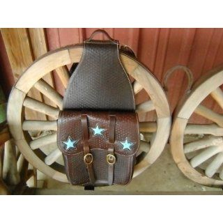 Heavy Duty Turquoise Star Leather Western Horse Saddle Bag