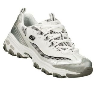 Skechers DLites Digginit Womens Sneakers White/Silver/Navy 11 Shoes