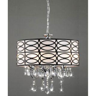 Indoor 4 light Chrome/ Crystal/ Antique Bronze Shade Chandelier