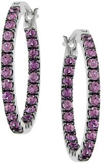 14k White Gold Pink Sapphire Hoop Earrings