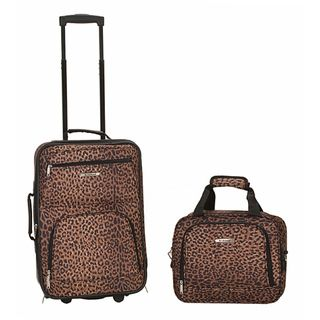 Rockland Leopard 2 Piece Lightweight Carry On Luggage Set