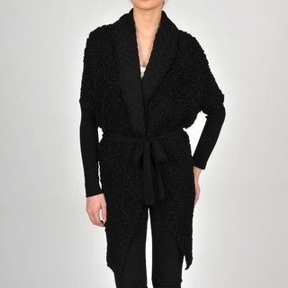 Colour Works Womens Black Puckered Stitch Belted Shawl Collar