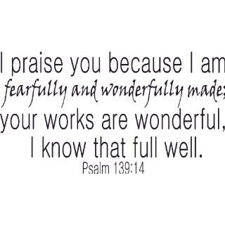 Psalm 13914, Vinyl Wall Art, Praise Fearfully Wonderfully
