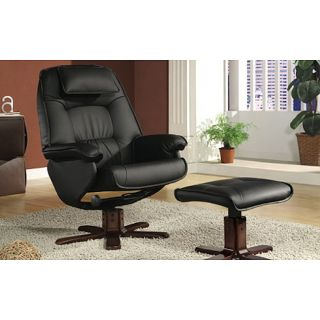 Black Bonded Leather Swivel Recliner and Ottoman