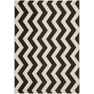 Safavieh Black/ Beige Indoor Outdoor Rug