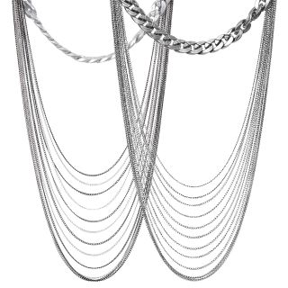 Journee Collection Base Metal Multi chain Fashion Necklace