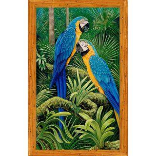 Ed Usher Blue & Gold Macaws Framed Canvas Art