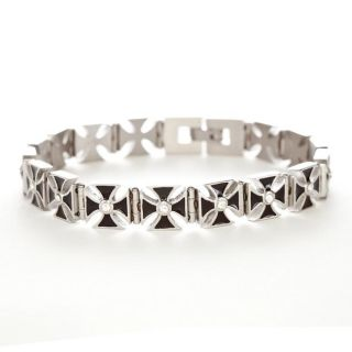Stainless Steel Mens Cubic Zirconia Cross Bracelet