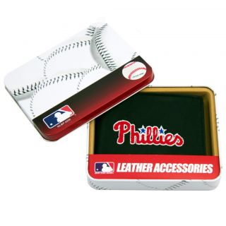 Philadelphia Phillies Mens Black Leather Bi fold Wallet