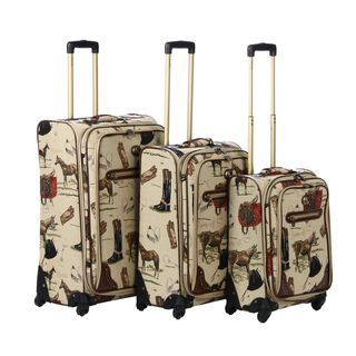 Oleg Cassini Pony Up 3 piece Expandable Tapestry Spinner Luggage Set