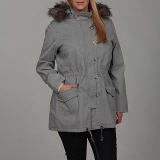 Jessica Simpson Womens Plus Size Grey Faux fur Jacket