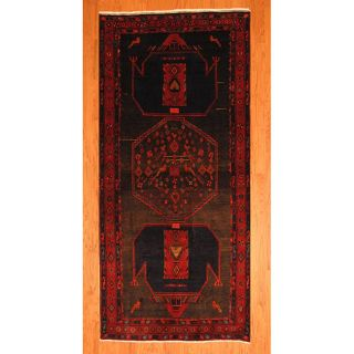 Persian Hand knotted Charcoal/ Red Hamadan Wool Rug (45 x 98) Was $