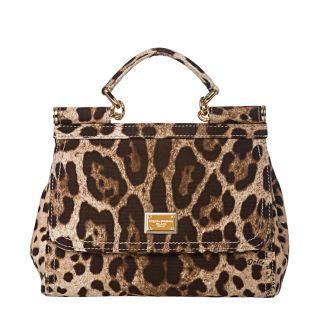 Dolce & Gabbana Miss Sicily Small Brown Leopard Canvas Satchel