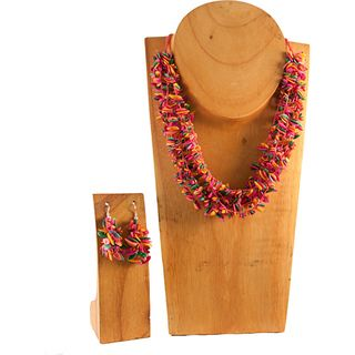 Pink Multicolor Melon Seed Necklace and Earring Set (Colombia