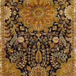 Indo Hand knotted Black/ Ivory Mahal Wool Rug (31 x 168)