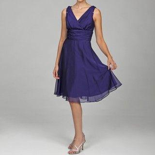 Patra Womens Purple Chiffon Dress