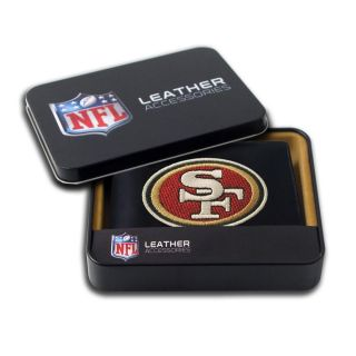 San Francisco 49ers Mens Black Leather Bi fold Wallet