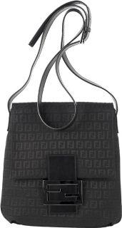 Fendi Black Zucchino Canvas Flap Messenger Bag