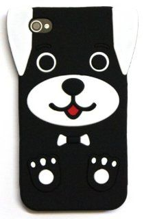 BLACK Cute Dog Puppy Silicone Soft Rubber Skin Case Cover