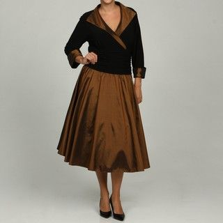 Jessica Howard Womens Plus Size Wing Collar Ruche Waist Dress