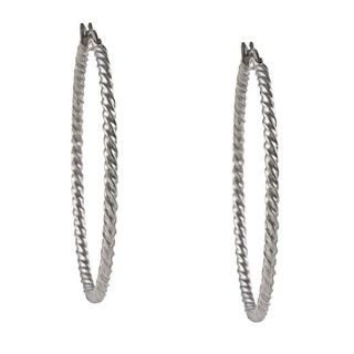 La Preciosa Stainless Steel 2mm Twisted Hoop Earrings