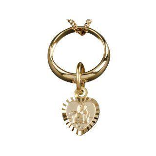 Schutzengel Herz in Gold mit Goldkette 333er   Taufkette / Taufschmuck