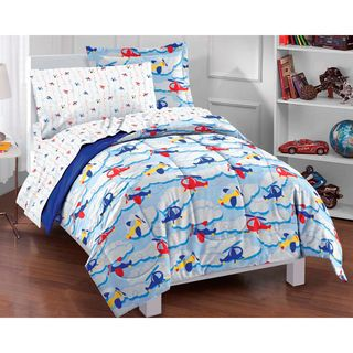 Planes and Clouds 5 piece Twin size Bed in a Bag with Sheet Set