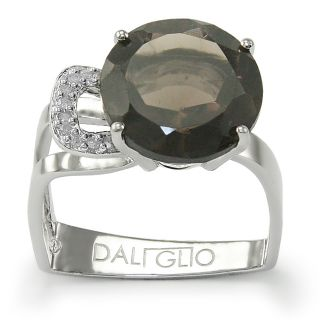 Daliglio Sterling Silver Quartz and 1/15ct TDW Diamond Ring
