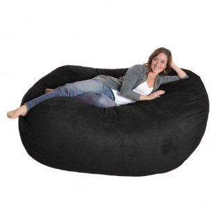 6 Foot Black Microfiber SLACKER sack Foam Bean Bag Love