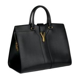 Yves Saint Laurent Black Textured Leather Cabas Chyc Large Tote