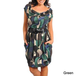 Stanzino Womens Plus Abstract Print Belted Dress