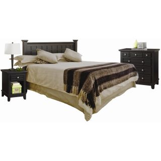 Home Styles Arts & Crafts Black Queen/Full Headboard Night Stand and