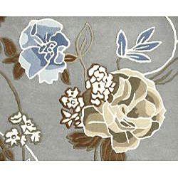 Handmade Aurora Rose Garden Steel Grey Wool Rug (8X11)