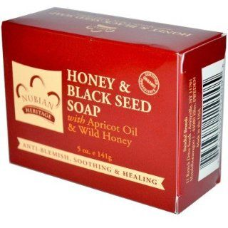 com Nubian Heritage  Honey & Black Seed Soap, 5oz, 141 grams Beauty