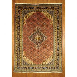 Persian Hand knotted Moud Salmon/ Blue Wool Rug (67 x 92