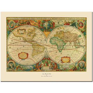 Map of the World Gallery wrapped Canvas Art