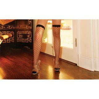 Black Diamond Net Thigh High Stockings (Pack of 2)